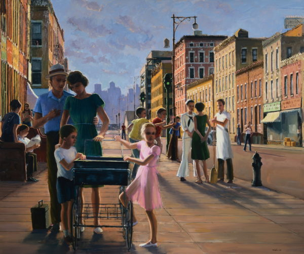 American Scene Painting Depicting People on a City Street