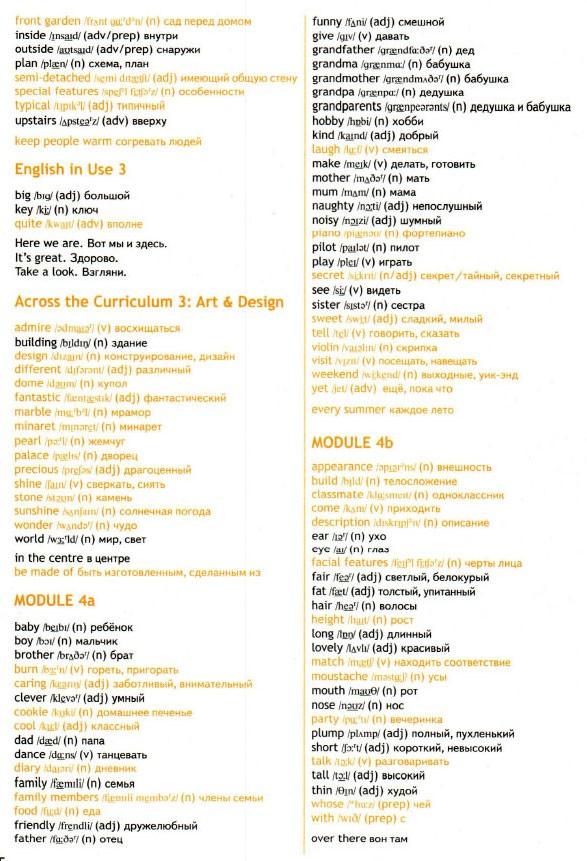 Учебник Spotlight 5. Student's Book. Word List