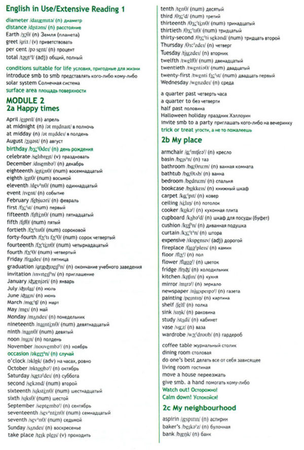 Учебник Spotlight 6. Student's Book. Word List