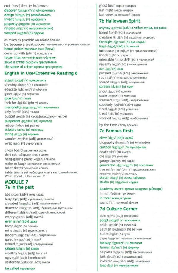Учебник Spotlight 6. Student's Book. Word List
